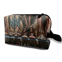 JOEKAORY Cosmetic Bag Portable Handbag Cowboy Boots Rustic Wood Plank Travel Toiletry Pouch Small Makeup Bags Case Organizer