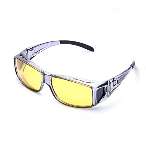 Wrap Around Style Polarized Night Driving Glasses to Wear Over Prescription Glasses (Grey, - Wear Sunglasses Your Glasses Over You