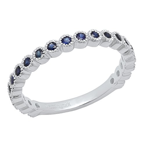 Dazzlingrock Collection 14K White Gold Round Blue Sapphire Eternity Stackable Anniversary Wedding Band (Size 7)