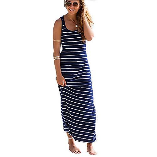 TTDRESS Mujer Algodón Recto Vestido Maxi/Primavera,Blue,M