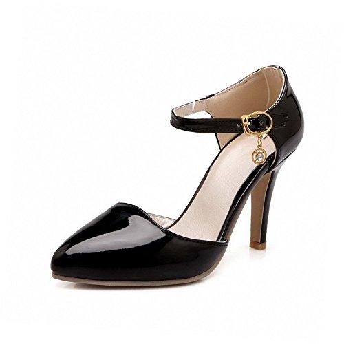 Allhqfashion Solide Pu Pointes Stilettos Point Fermé Fermé Orteil Boucle Chaussures Chaussures Noir