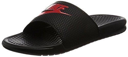 NIKE Men's Benassi Just Do It Slide Sandal, Black/Challenge red, 5 Regular US by NIKE