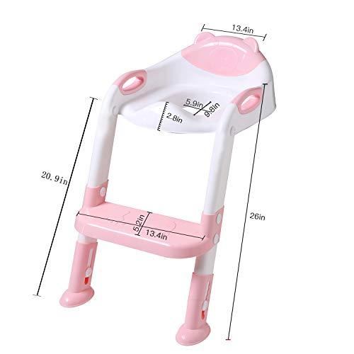 Potty Training Seat Ladder Toddler,Potty Seat Toilet Boys Girls,Adjustable Kids Toilet Training Seat (Pink)