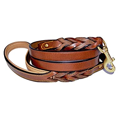 Soft Touch Collars Heavy Duty Leather Braided Dog Leash, Brown 6ft