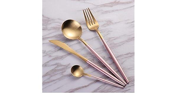 WHWH Set de 24 Piezas de Acero INOX 18/10,Cuchara de Restaurante Cuchara menaje hogar Set Acero Inoxidable 304-Pink_Gold,Cubiertos Dorados: Amazon.es: Hogar