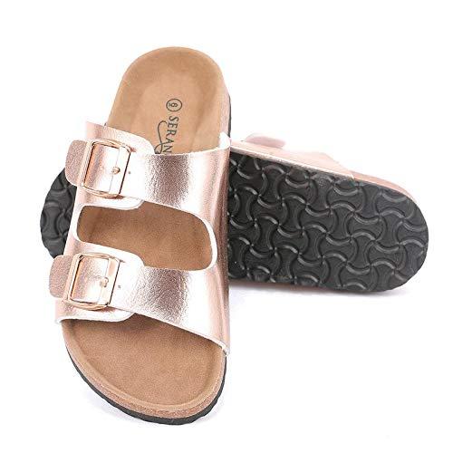 (Seranoma Women's Comfort Double Buckle Indoor/Outdoor Cork Sandal | Classic Comfortable Slide | Adjustable Buckles Rose)
