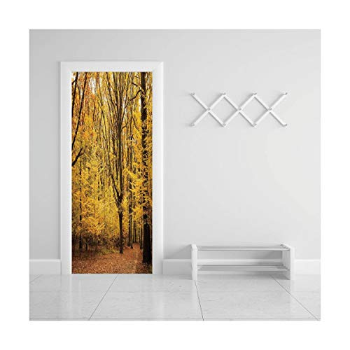 Door Decal Wall Murals 3D Vinyl Wallpaper Stickers for Room Decor,30.3x78.7 inches,Fall Decorations