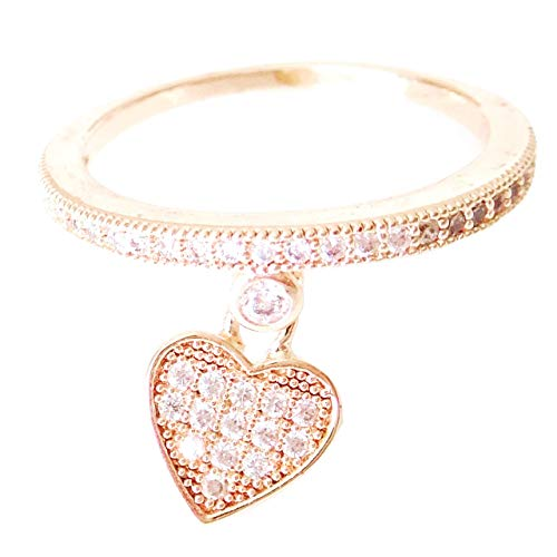 aria' 18k Rose Gold-Plated CZ Crystal Pave Heart Charm Ring, Size 6 ()