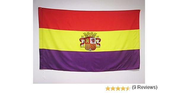 AZ FLAG Bandera ESPAÑA Republicana con Escudo 150x90cm para Palo ...