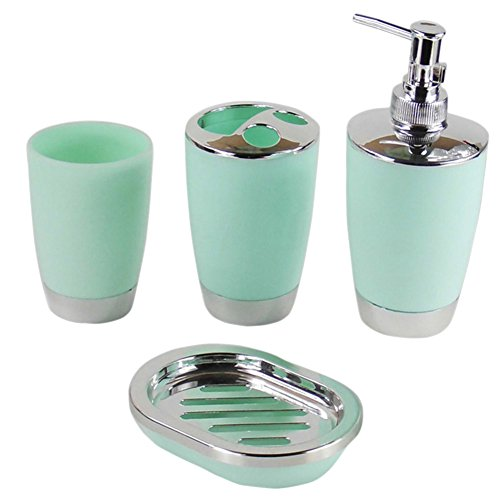 Cup Toothbrush Holder - 4 Pcs Set Bathroom Suit Plastic Shampoo Press Bottle Wash Gargle Cup Toothbrush Holder Soap Dish - Blue Cream Holder Toothbrush Accessories Brown Mirror Ivory Brass