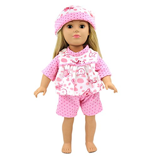 [Doll Clothes 3pc Pink Sleepwear Pajamas, AOFUL Loverly Short Sleeve Bear Pajamas suits with Hat -3 pieces Fits 18