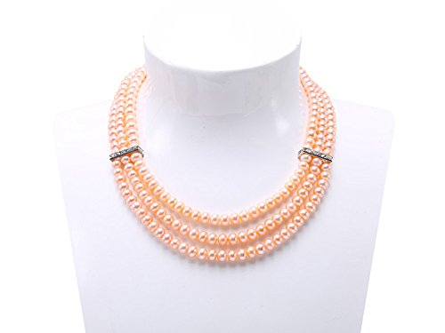 JYX Pearl 3-Row 6-7mm Flatly-Round Pink Freshwater Cultured Pearl Necklace for Women as Gift