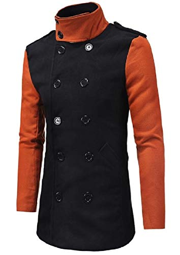 Down Mogogo Woolen Mens Double Turn Trench Mid Black Collar Coat Hit Breasted Color Long Tx4InYd4
