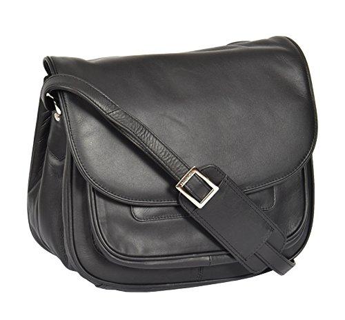 Damen Weiches Schwarz Leder Multi Reißverschlusstaschen Schultertasche Große Klassische Art Klappe Uber Umhängetasche - A95
