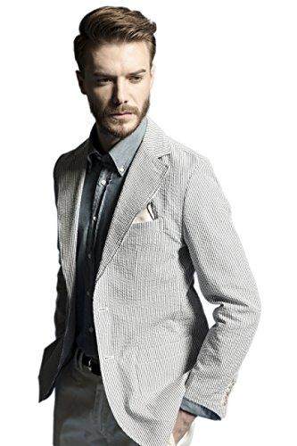 La Catenella Mens Slim Fit Suits Stylish Casual Seersucker Blazer Jacket