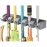 Mr. Broom Holder - 2-sided Rubber Tight Grips Cleaning Wall Organizer with 11 positions. Non-slip Guaranteed.