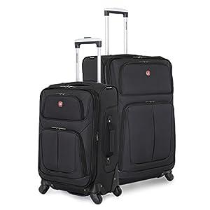 SwissGear 2 Piece Spinner Wheel Black Suitcase Set - Softshell & Lightweight (Black)