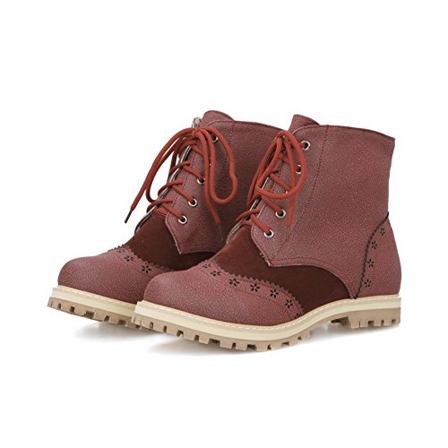AmoonyFashion Womens Solid Low-Heels Round Closed Toe Blend Materials Lace-up Boots Claret adWl5m1z