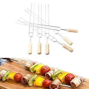 JUIC 6Pcs / Set Attrezzi per Barbecue a Forcella a Forma di U Griglia per Carne in Acciaio Inossidabile Attrezzo per… 1 spesavip