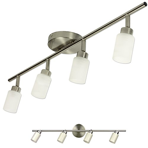 Brushed Nickel 4 Light Track Lighting Wall or Ceiling Mount Fixture - Brushed Nickel Extensions Track Lighting