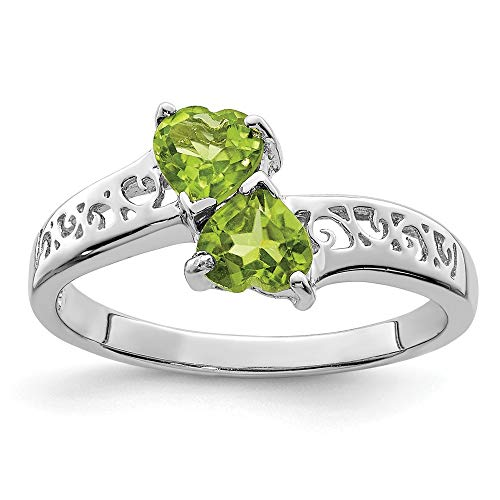 (925 Sterling Silver Green Peridot Heart Band Ring Size 7.00 S/love Gemstone Fine Jewelry Gifts For Women For Her)