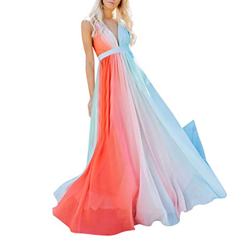 BBZUI Long Casual Women's Sexy Fashion Sling Print Holiday Gradient Dress Long Dress Maxi Summer Spring (Orange, S)