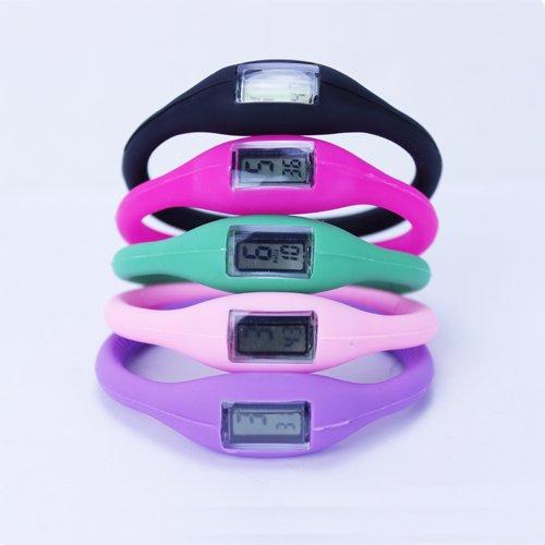 3CERA® Sport Ion Quartz Silicone Anion Bracelet Band bracelet étanche Homme Femme Black Watch