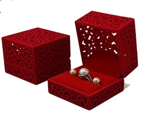 Velvet Ring Red (TOP HUNTER Velvet Jewelry Box for Ring Engagement Gift Wedding favor Oriental Charm Cultural Art(RED))