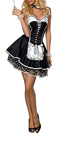 Rika0-0 sexy and fashion Plus Size Women Sexy Maid Lingerie French Maid Costume Halloween Role Play as pictureX-Large