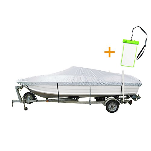 "NEXTCOVER Water Proof U.V Reflective Marine Grade Boat Cover,W/ free water proof phone case, Fits V-Hull,Tri-Hull, Runabout Boat, Fits boat up to 16'-18.5'Long and 94""Wide,Silver Color,NB24C42C, (V-hull Cover Boat)"