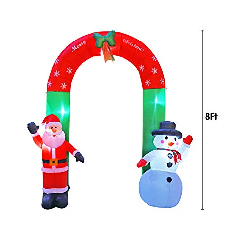 BIGJOYS 8 Ft Inflatable Christmas Arch Decoration Santa Claus and Snowman Archway Decorations for Indoors Outdoors Yad Home Garden Lawn