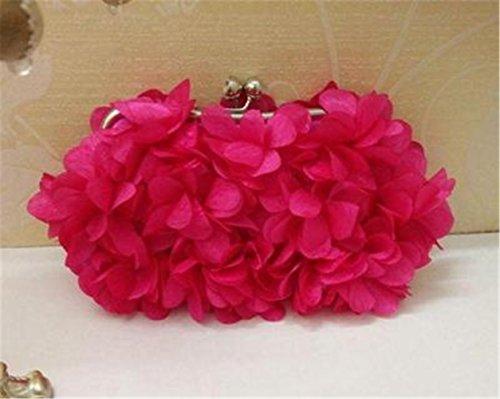 TOMATO-smile - Bolso mochila  de Satén para mujer azul Spitze Lila Rose rot