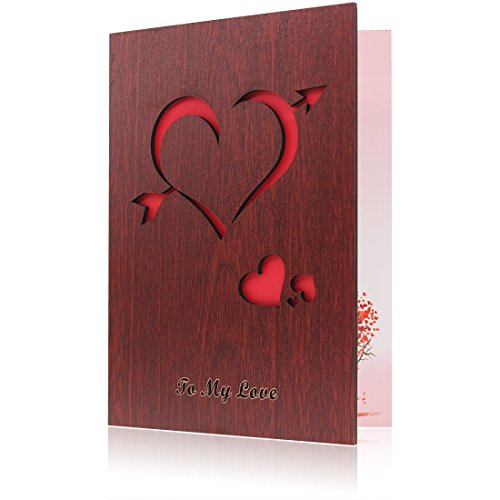 Handmade Wood Card Love Greeting Card Valentines Day Cards Made With Red Walnut Polywood The Best Valentines Day Present Gift Cards