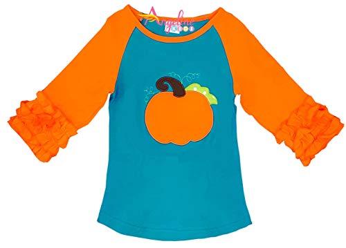 (Boutique Clothing Halloween Pumpkin Turquoise Ruffles Raglan T-Shirt 18-24/XS )