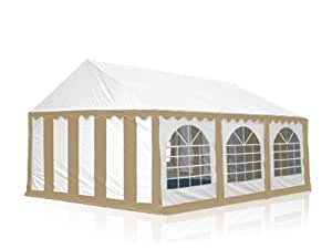 4x6 m party tent, marquee PVC beige-white
