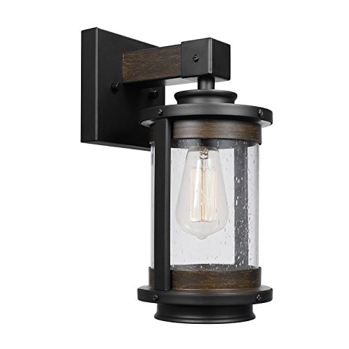 (Globe Electric Williamsburg 1-Light Wall Sconce, Bronze, Dark Wood Finish Accents, Seeded Glass Panes 65931, 0,)