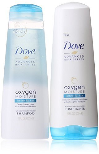 Dove Advanced Hair Series Oxygen Moisture 12 OZ Shampoo & 12 OZ Conditioner for Fine, Flat Hair. (Best Shampoo For Thin Flat Hair)