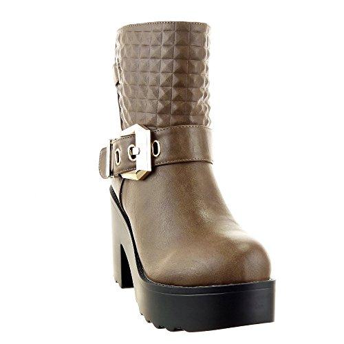 Sopily - Chaussure Mode Bottine Cavalier Cheville femmes Matelassé boucle Talon bloc haut talon 9.5 CM - Intérieur fourrure synthétique - fourrée - Taupe/Brun