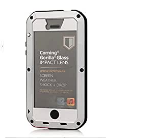 YY Store®Luxury Aluminum Metal Shock/Dirt/Dust Proof Gorilla Glass Cover/Case for Apple Iphone 5 - Silver