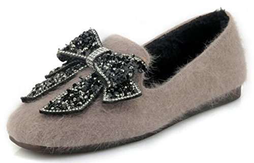 IDIFU Womens Sweet Bows Rhinestones Faux Fur Square Toe Low Top Slip On Thick Flats Shoes Khaki 2t38E