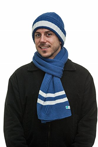 Mens Two-Toned 3M Fleece Thinsulate Ribbed Knit Scarf and Hat Set BlueWhite