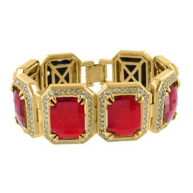 solid red ctw bracelet ruby diamond gold yellow mens