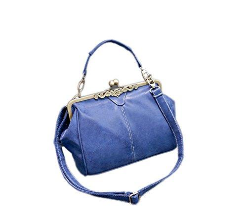 Women Handbag Shoulder Bags Tote Purse Frosted PU Leather Bag Blue - 5