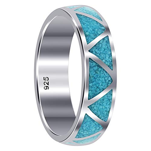 925 Sterling Silver Turquoise Band Size 10 Gemstone Southwestern Style