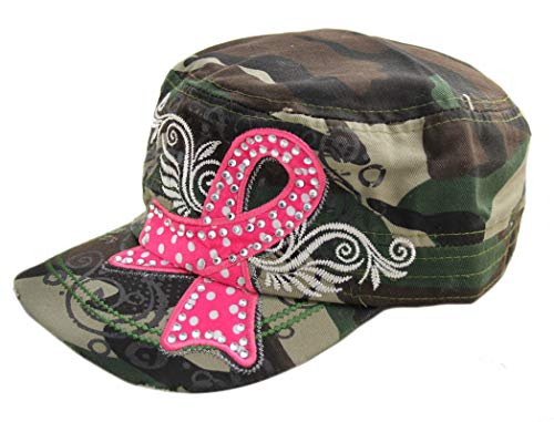 SUS Camo Breast Cancer Awareness Polka Dot Pink Ribbon Cadet Cap Hat