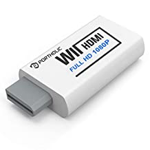 Portholic - Conversor de Wii a HDMI (1080P, para dispositivos Full HD, adaptador Wii HDMI con clavija de audio de 3,5 mm y salida HDMI, compatible con Nintendo Wii, Wii U, HDTV, todos los modos de visualización Wii 720P, NTS), Blanco