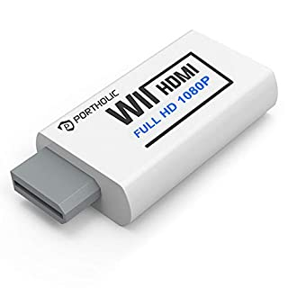 PORTHOLIC Wii to HDMI Converter 1080P for Full HD Device, Wii HDMI Adapter with 3,5mm Audio Jack&HDMI Output Compatible with Nintendo Wii, Wii U, HDTV, Monitor-Supports All Wii Display Modes 720P, NTS