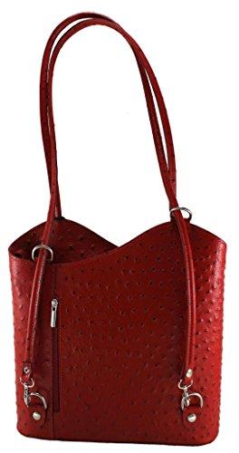 28x30x9cm Italy In Moda Made Tutto Chicca Sac Véritable À Rouge Avec Autruche Ctm 100 Cuir Femme Bandoulière Print wgaBvUqa