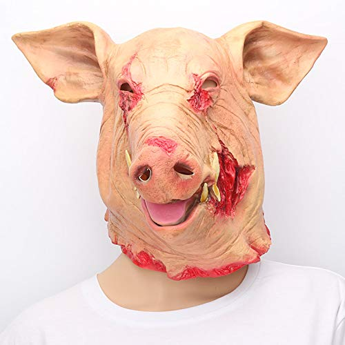SaveStore Halloween Horror Mask Masquerade Saw Pig Head Mask Animal Cosplay Costume Latex Holiday Supplies by SaveStore