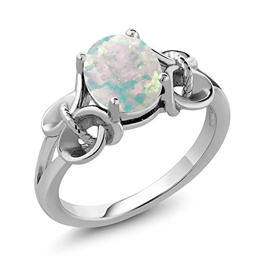 - 0.60 Ct Oval Cabochon White Simulated Opal 925 Sterling Silver Ring (Size 7)